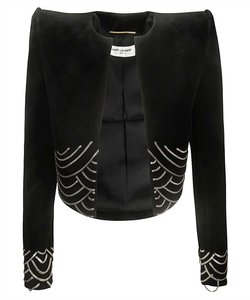 Saint Laurent chain detail velvet crop jacket