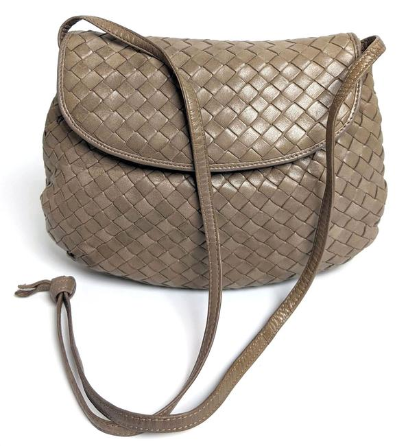 Item - Clutch Intrecciato Woven Taupe Leather Cross Body Bag