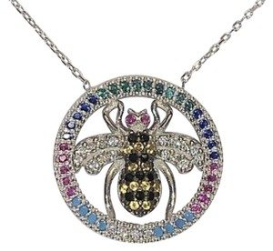 9.2.5 Rare 925 white gold multi gemstone circle bee necklace