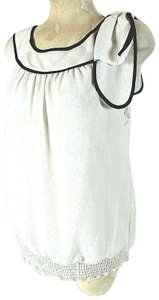 AB Studio Elastic Top Women's White Lined Stretch