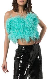 Attico Feather Strapless Crop Pearl Top Blue