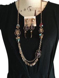 Oscar de la Renta OSCAR DE LA RENTA EGYPTIAN REVIVAL SCARAB NECKLACE AND EARRING SET