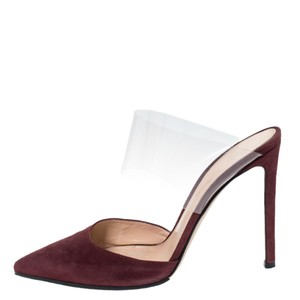 Gianvito Rossi Suede Pointed Toe Burgundy Sandals