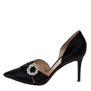Gianvito Rossi Pleated Satin Embellished Black Pumps