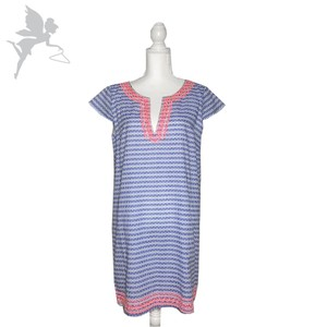 Tori Richard short dress Blue and Pink Split Neck Shift Lilly Pulitzer Cap Sleeve Cover Up on Tradesy