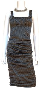 Nicole Miller Bodycon Striped Black White Ruched Dress