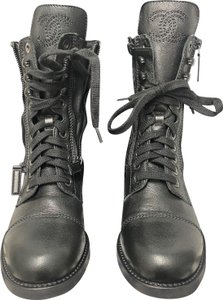Chanel Combat Leather Lace-up Quilted Black Boots