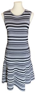 Torn by Ronny Kobo short dress Gray with black and white stripes on Tradesy