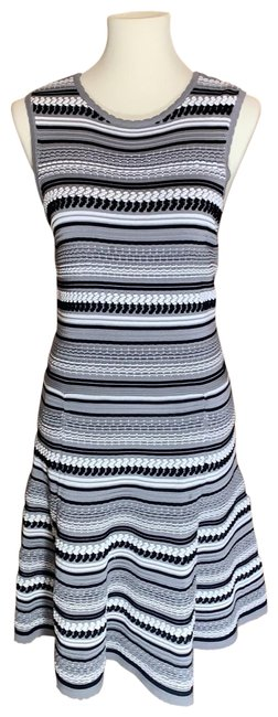 Item - Gray with Black and White Stripes Fit Flare Mid-length Short Casual Dress Size 12 (L)