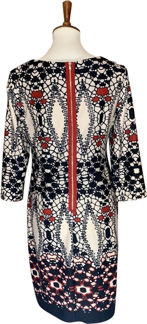 Item - Cream Color with Black and Red Print Mid-length Work/Office Dress Size 10 (M)