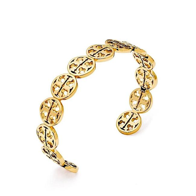 Tory Burch Gold New with Tag Frozen Logo Cuff Bracelet Tory Burch Gold New with Tag Frozen Logo Cuff Bracelet Image 1