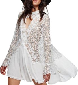 Free People short dress White and Black Tunic Boho Summer Spring Lace Trim on Tradesy