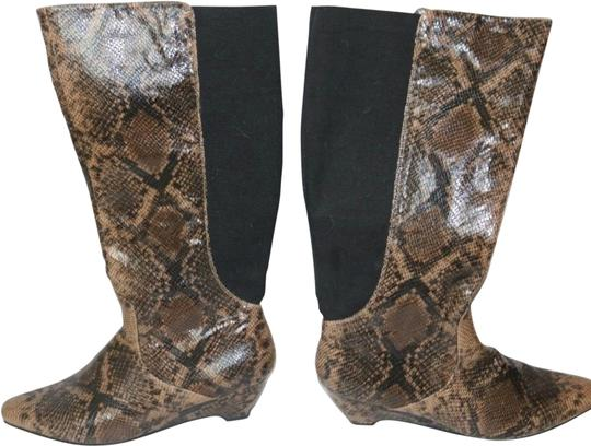 Lane Bryant Brown and Black Snake Boots