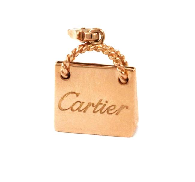 Cartier #65052 Shopping Bag W Collectible 18k Pink Gold Signature Pendant W/Cert. Charm Cartier #65052 Shopping Bag W Collectible 18k Pink Gold Signature Pendant W/Cert. Charm Image 1