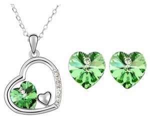 White Gold Plated Heart Jewelry Sets