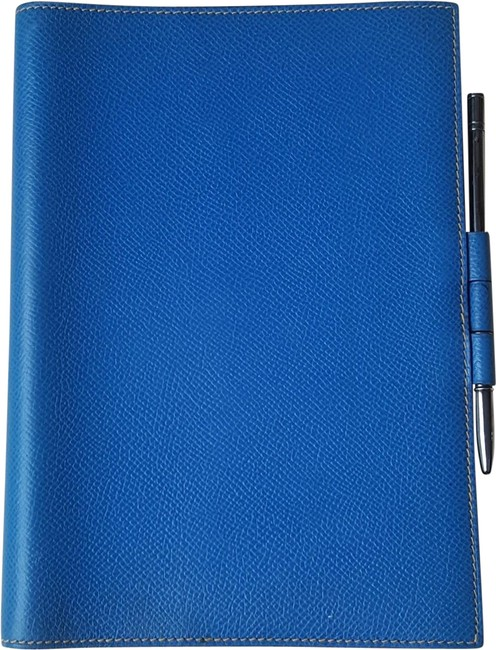 Hermès Blue Agenda Notebook Cover with Silver Pen Hermès Blue Agenda Notebook Cover with Silver Pen Image 1