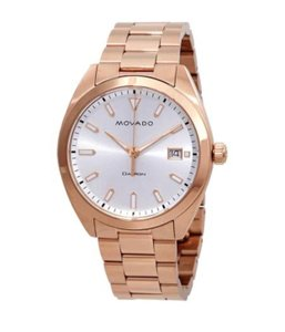 Movado Heritage Silver Dial Rose Gold-plated Men's Watch