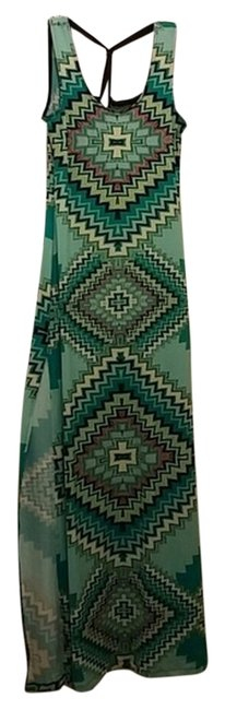 multi color Maxi Dress by Other Aztec Maxi Cris Cross Back