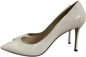 Jimmy Choo Patent Leather Pointed Toe White Pumps