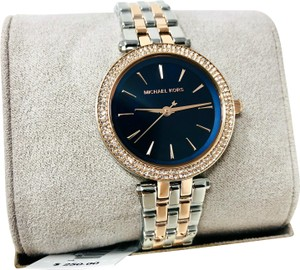 Michael Kors NEW Michael Kors Darci Silver Rose Gold Blue Glitz Dial Watch MK3651
