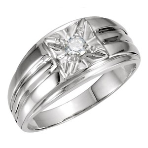 White 0.15 Ct Round Illusion Solitaire Ring Men's Wedding Band