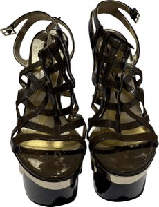 Versace Webbed Strappy Army Green, Gold, & Black Platforms