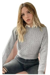 Heartloom Crop Cropped Cable Knit Longsleeve Sweater