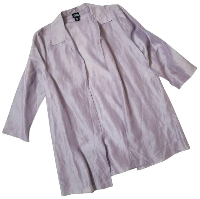 Item - Lavender Linen & Silk Blend Open Front Collared Oversized Jacket Blazer Size 2 (XS)