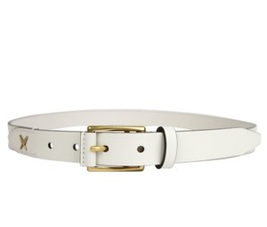 Gucci White Men's Feather Leather Belt Gold Buckle Detail 375182 9022 Groomsman Gift