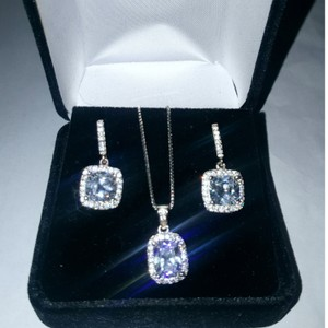 Silver & Clear .925 Sterling 3pc. Morganite Jewelry Set