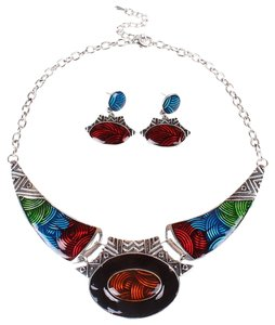 Other Fashion Antique Silver Jewelry sets Colorful Enamel Pendant