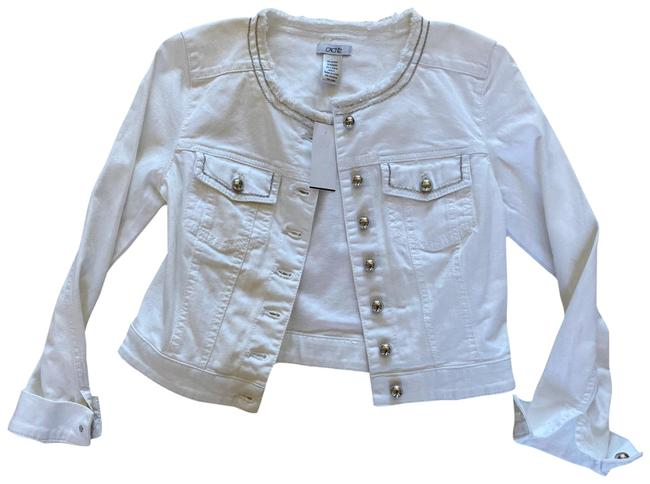 Item - White and Silver Cropped Jacket Size 2 (XS)