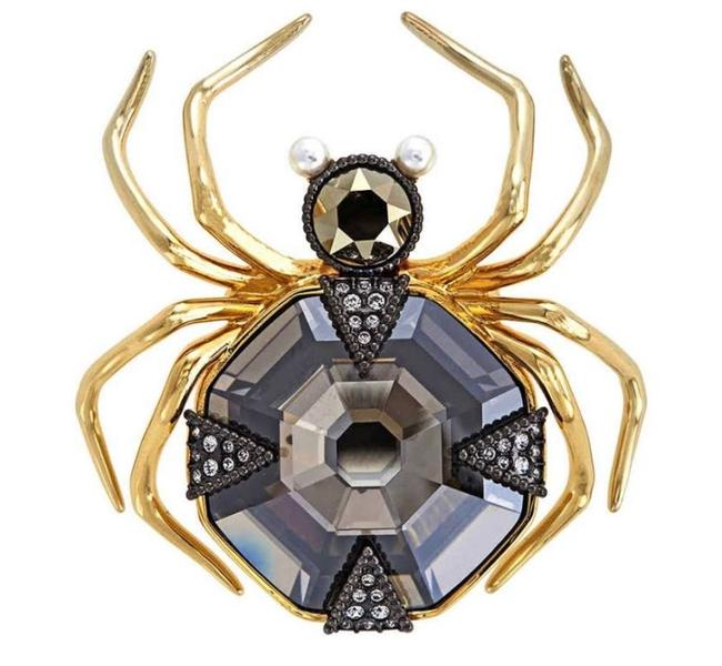 Item - Gold 5.0 Magnetic Spider Multi Colored Brooch