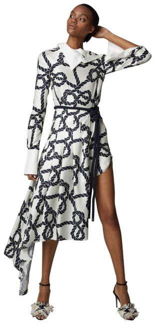 Item - Cream and Navy Nautical Print Mid-length Cocktail Dress Size 4 (S)