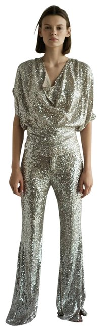 Item - Silver/Cream/Gold XS New Sequin Draped Ref 7628/009 Blouse Size 2 (XS)