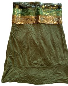 Zio Top hunter green, green and gold sequins on top hunter green cotton