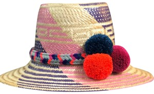 Wayuu Tribe straw summer pom pom hat