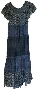 Indigo Combo Maxi Dress by Free People Maxi Off The Shoulder Cotton