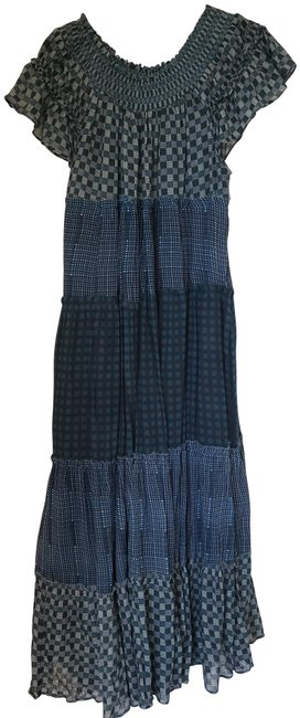 Item - Indigo Combo Something Real Plaid Off The Shoulder Long Casual Maxi Dress Size 6 (S)