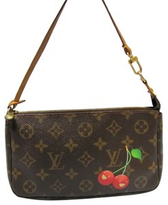 Louis Vuitton Limited Edition Speedy Alma Eva Brown Monogram with Cherries Clutch