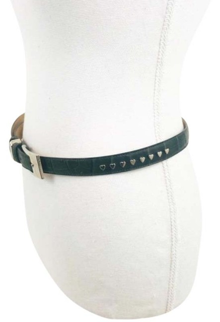 Item - Green Embossed Leather with Heart Studs Belt