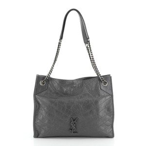 Saint Laurent Leather Tote in Gray