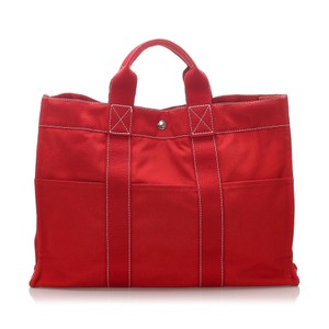 Hermes 0dheto006 Vintage Canvas Tote in Red