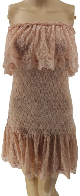Item - Pink Rose Strapless Tube Sexy Lined Lace Mini S/P Short Casual Dress Size Petite 6 (S)
