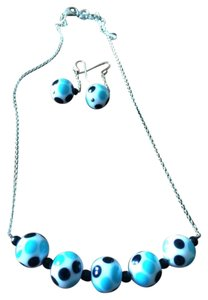 Other Handmade Fired Glass Polka Dot Sterling Silver Necklace & Earrings