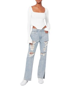 Jonathan Simkhai Boyfriend Cut Jeans-Light Wash