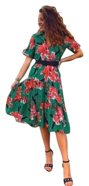 Item - Floral Print Belted Mid-length Work/Office Dress Size 6 (S)