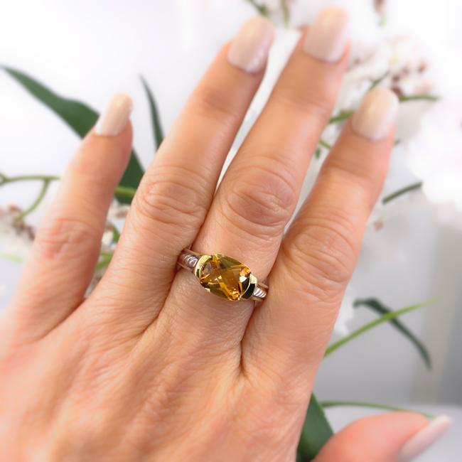 Item - Amber Orange Faceted Citrine 18kt Yellow Gold and Sterling Silver Ring