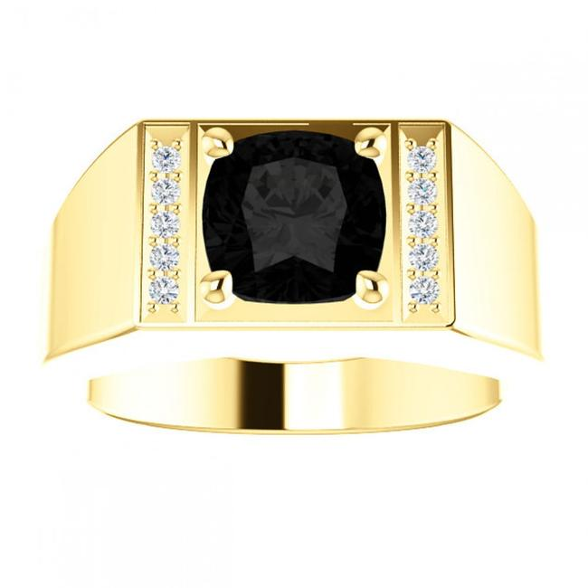 Item - Yellow 0.25 Ct Round and Onyx Ring Men's Wedding Band