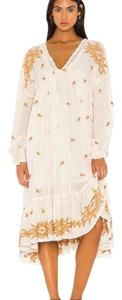 Beige Maxi Dress by Free People Boho Trapeze Embroidered Lavender Fields Midi